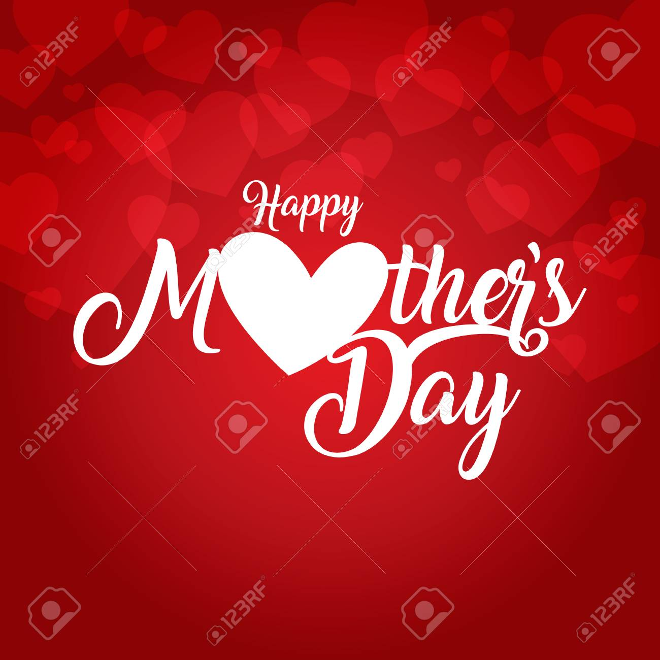 Mothers Day Greeting Card Vector Illustration With Hearts Design