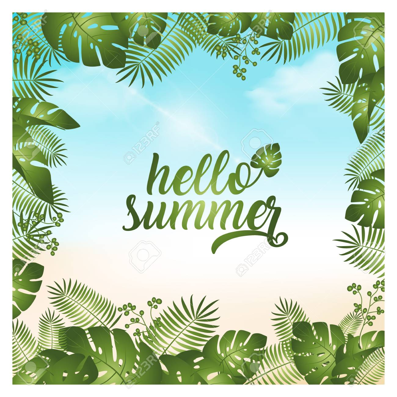 hello summer background vector illustration - 125453713