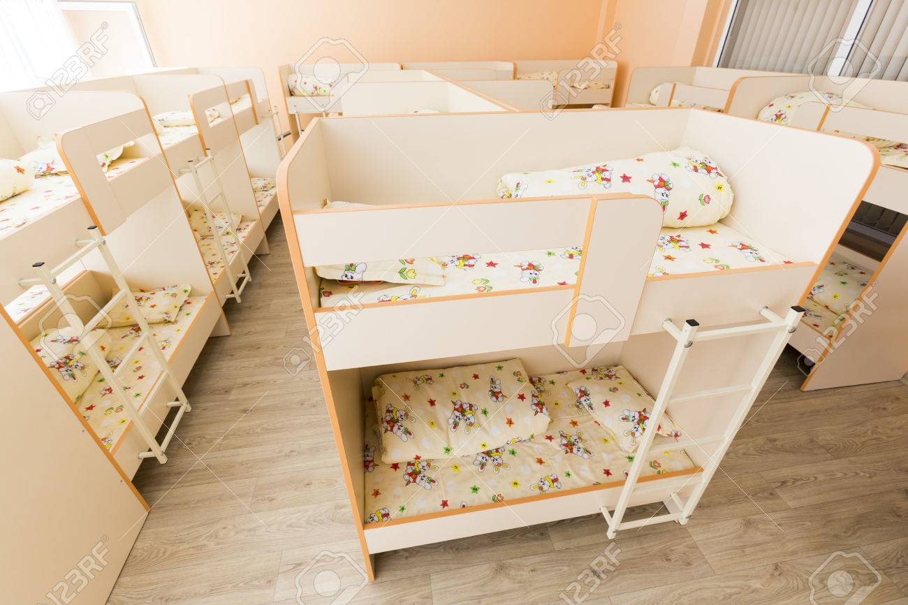 New Kindergarten Bedroom With Small Bunk Beds With Stairs For Stock Photo Picture And Royalty Free Image Image 53572365