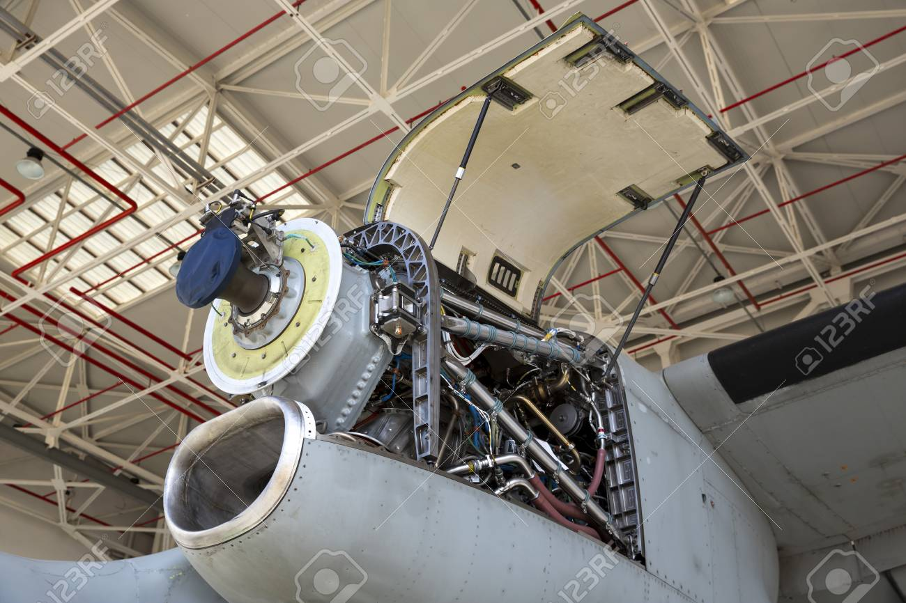 Aircraft engine maintenance  Airplane engine with propeller gets