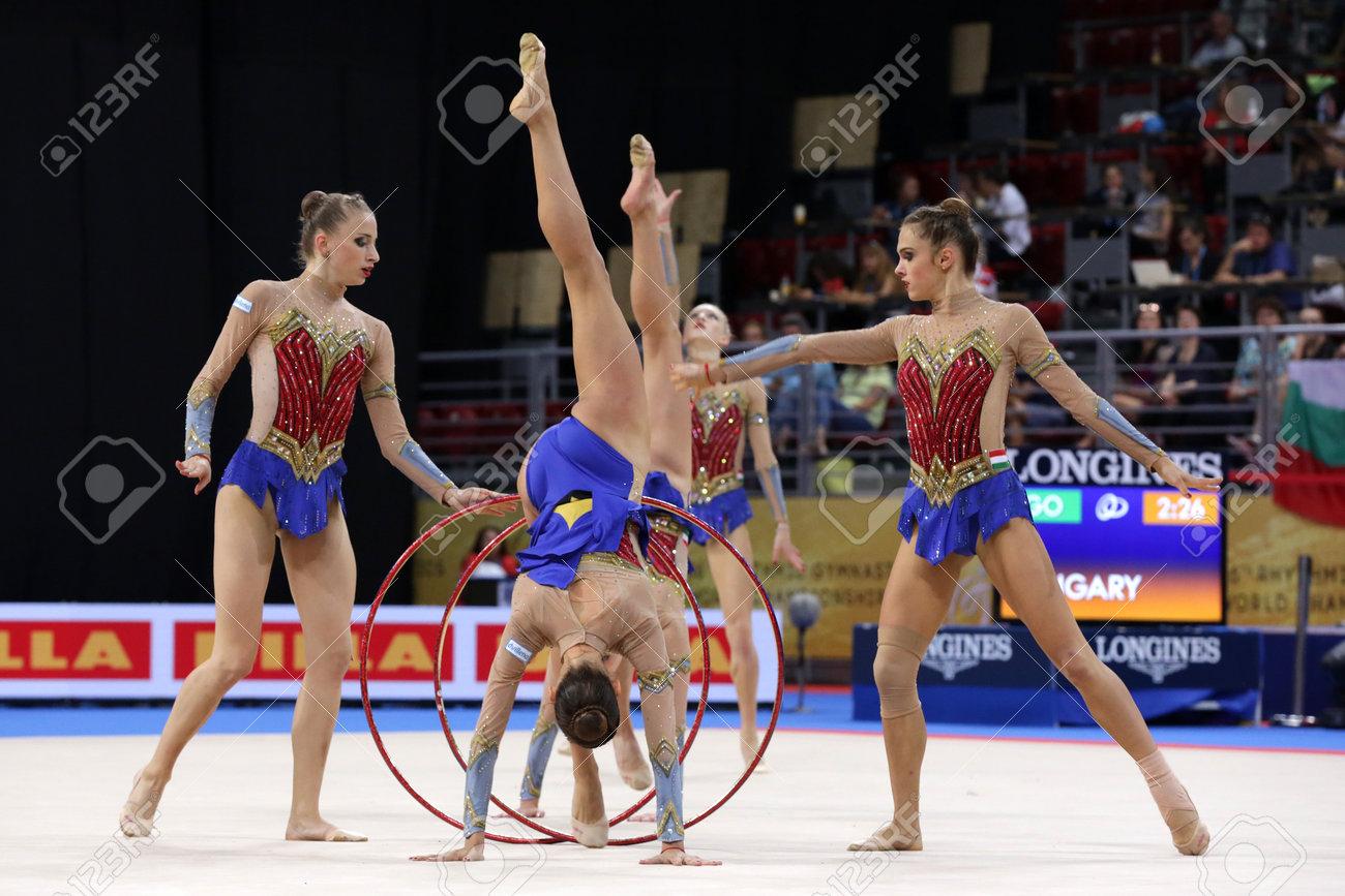 Sofia, Bulgaria - 15 September, 2018: Team Hungary performs during The 2018 Rhythmic Gymnastics World Championships. Group tournament. - 140378717