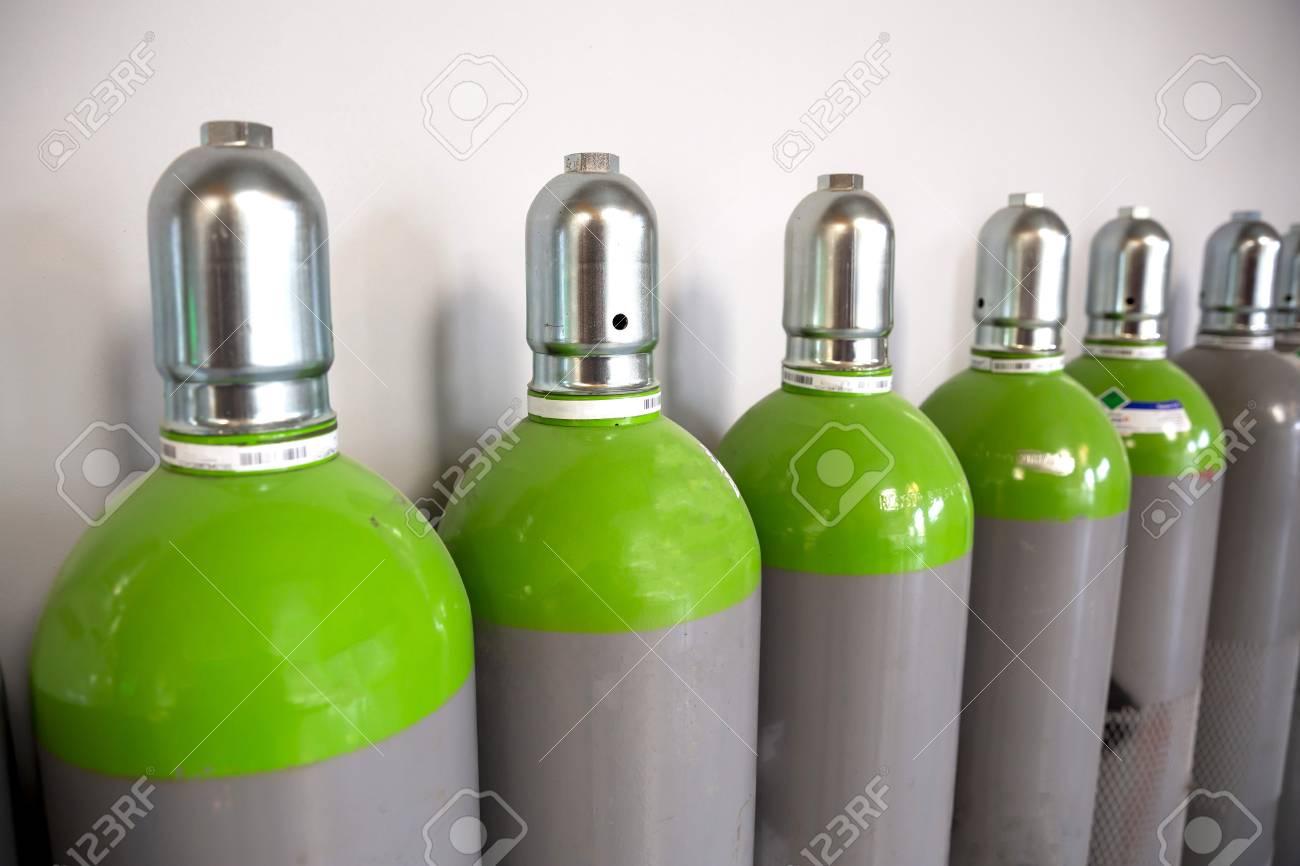 Seamless Steel Industrial Gas Cylinders. Pressurized Cylinder. Industrial stainless steel bottles in line. - 120442004