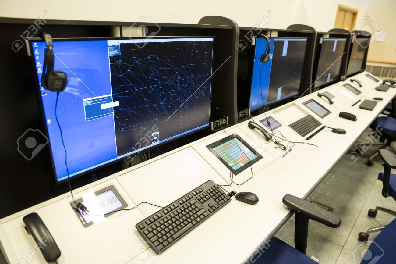 Air traffic control simulator station. - 144474500