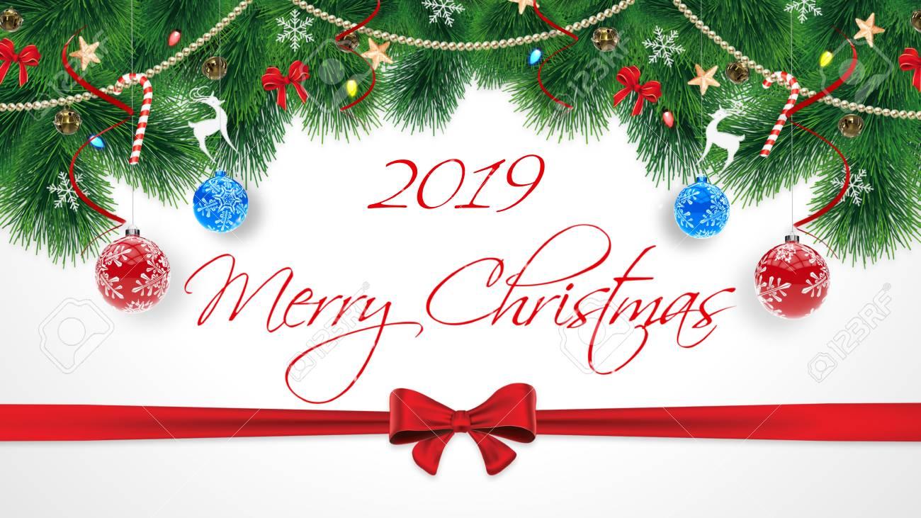 Feliz Navidad Joyeux Noel 2019.Carte De Felicitations Merry Christmas Original Mignon Avec Abonnement 2019 Joyeux Noel Inscription Sur Le Fond Blanc Avec Des Guirlandes De Noel Et