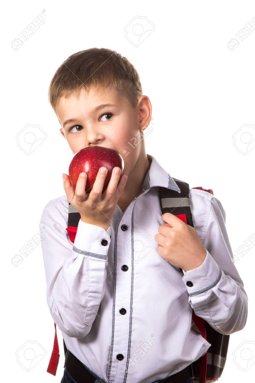 bffadf1447e5 Healthy Pupil Biting A Red Apple