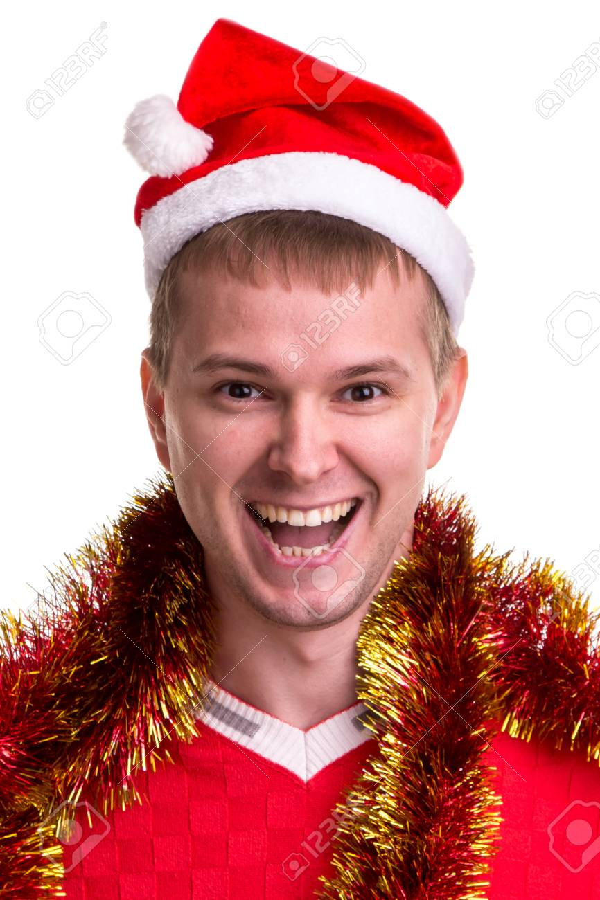 697f758a973 Thinking for christmas gift ideas. Funny smiling guy with a Santa..