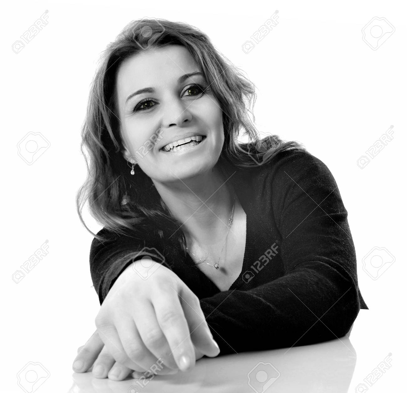 beautiful smiling woman in front of white background Stock Photo - 16883322