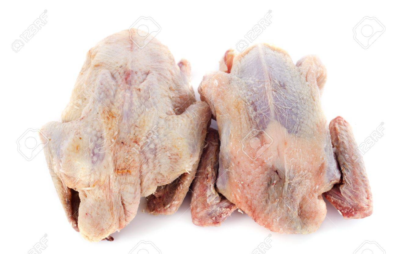 two partridge meat on a wood cutting board Stock Photo - 17841210