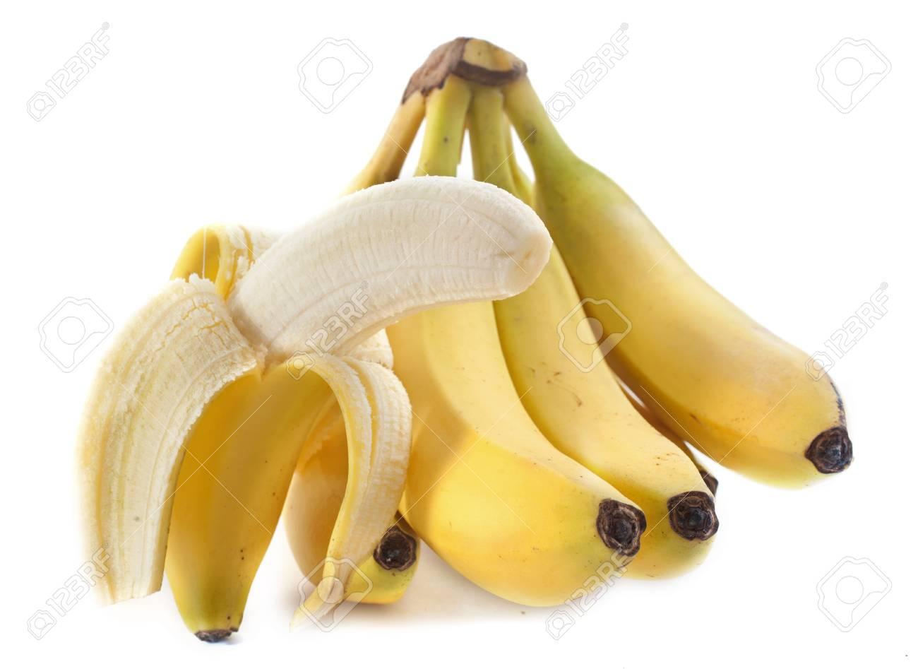 bunch of bananas in front of white background Stock Photo - 23580153