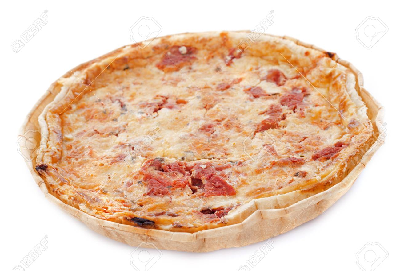 tomatoes tart in front of white background Stock Photo - 23637044