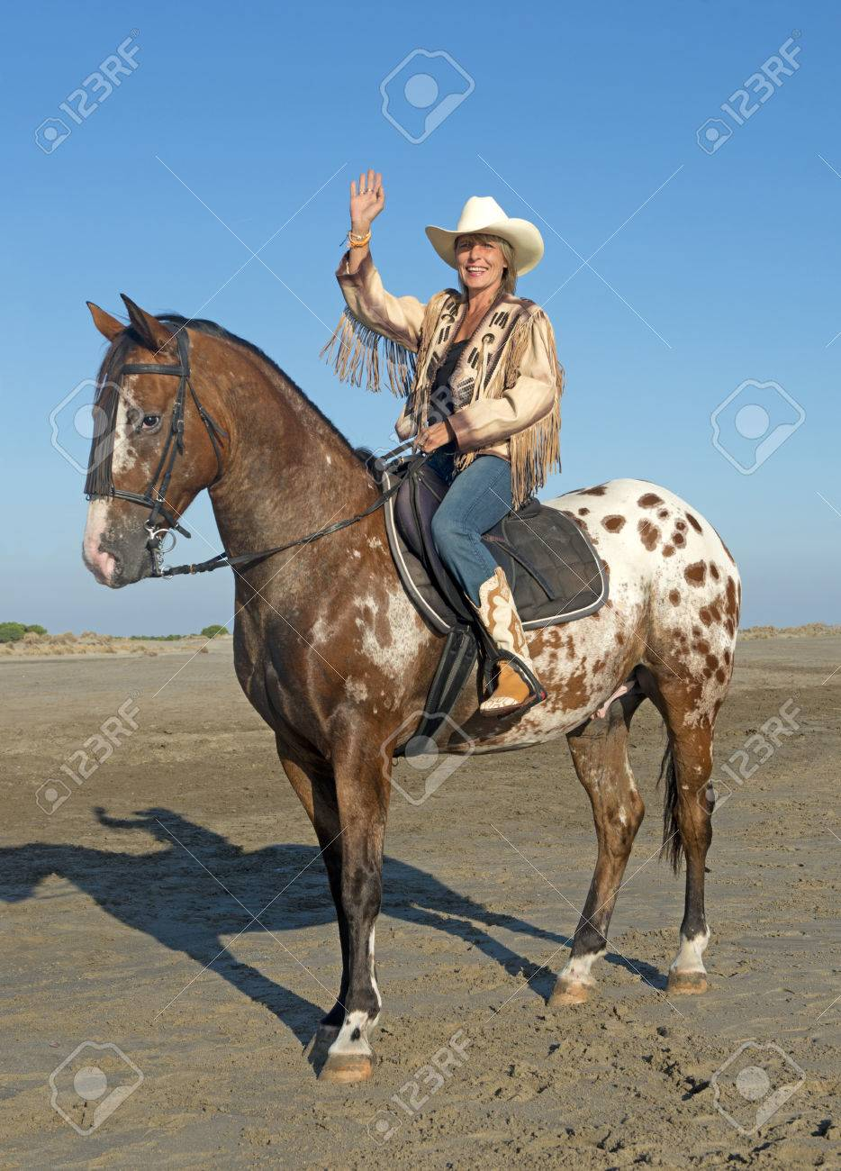 Cowgirl On Appaloosa Horse On The Beach Stock Photo Picture And Royalty Free Image Image 63264166