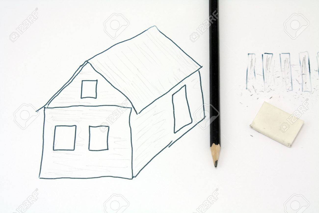 Drawing Pencil Unfinished Sketch Farmhouse Stock Photo