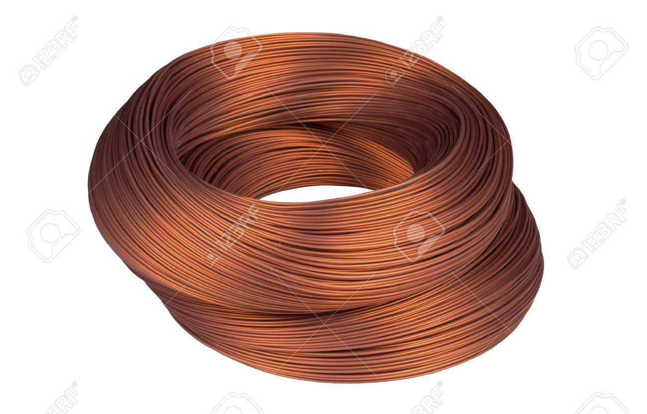 Copper Wire Isolated On The White Background Stock Photo, Picture ...