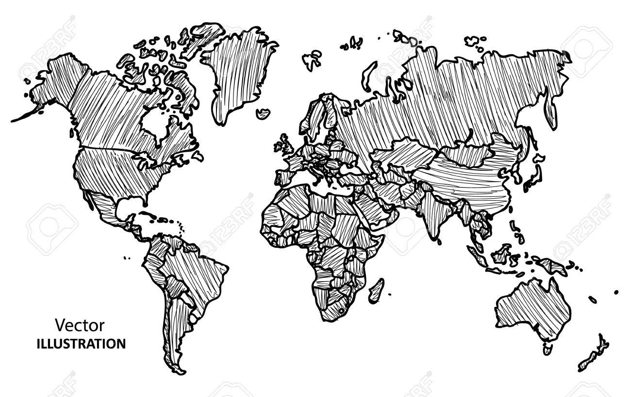 Hand Drawing World Map With Countries, Vector Illustration Royalty