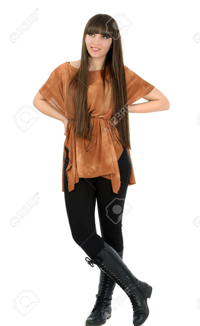 Portrait of lovely woman with long hair on white background Stock Photo - 19499352