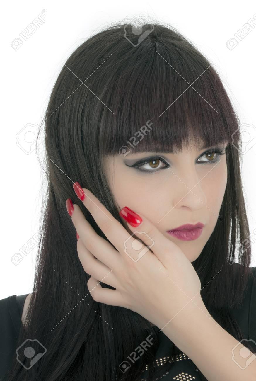 Portrait of beautiful female model on white background Stock Photo - 19805028