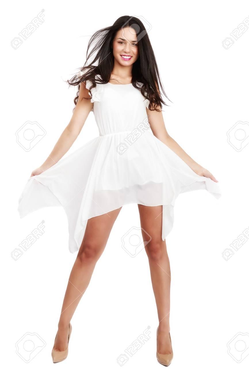 aeafbabfcc1 Belle Femme En Robe Blanche Sur Fond Blanc Banque D Images Et Photos ...