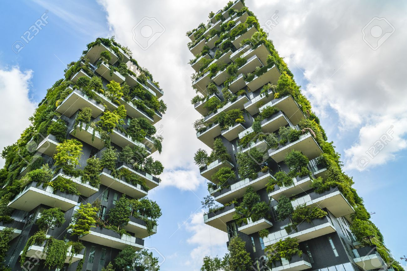 MILAN, ITALY - MAY 28, 2017: Bosco Verticale (Vertical Forest) low view. Designed by Stefano Boeri, sustainable architecture in Porta Nuova district, in Milan - 79205251