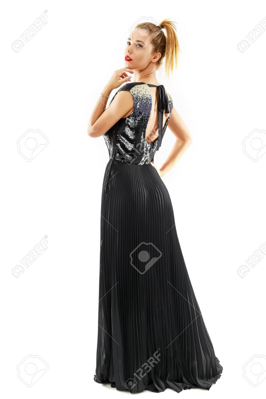 Young beautiful woman with fashion dress on white background - 151075459