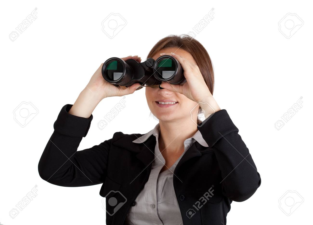 Business woman looking through binoculars  Isolated on white background Stock Photo - 13378329