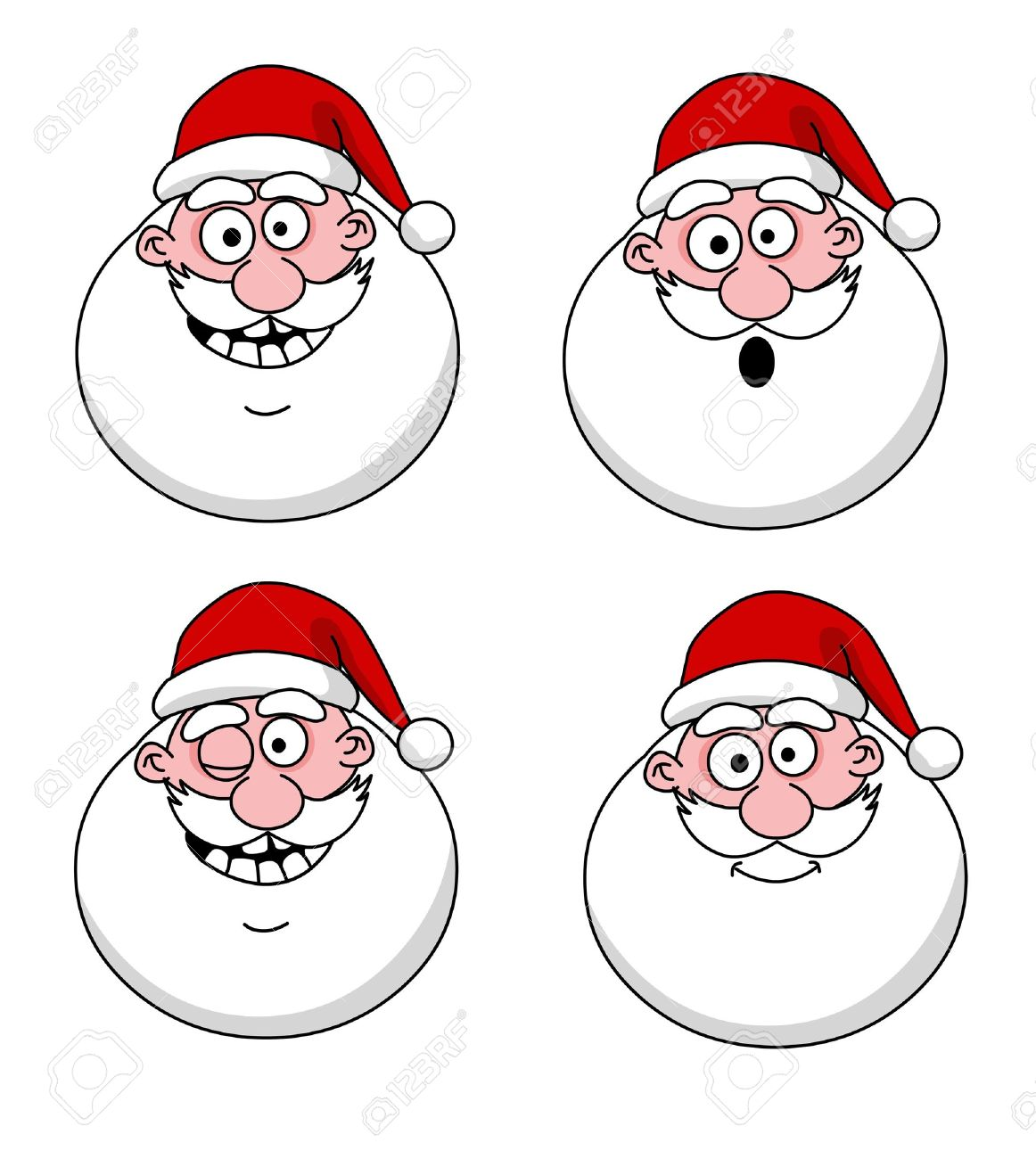 Four funny Santa Claus heads - set Stock Vector - 13420983