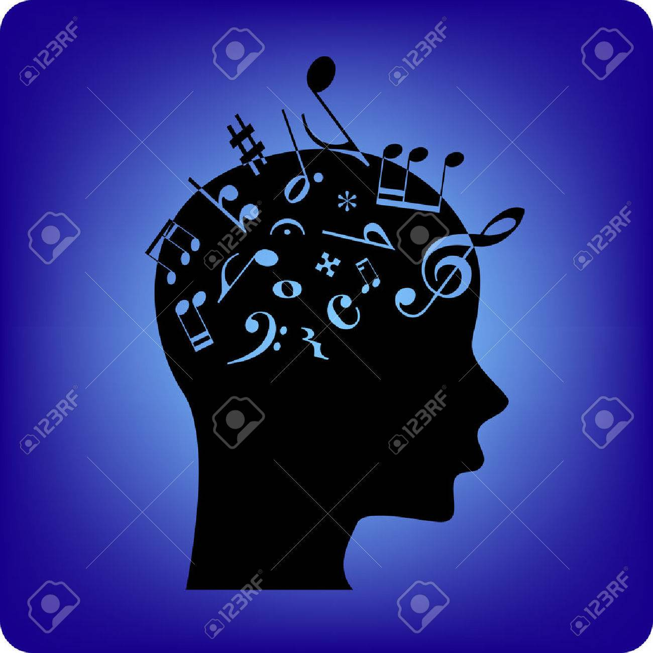 Musical notes spilling out from the brain  Musical notes are