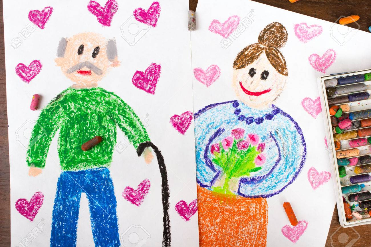colorful drawings grandparents day cards stock photo picture and
