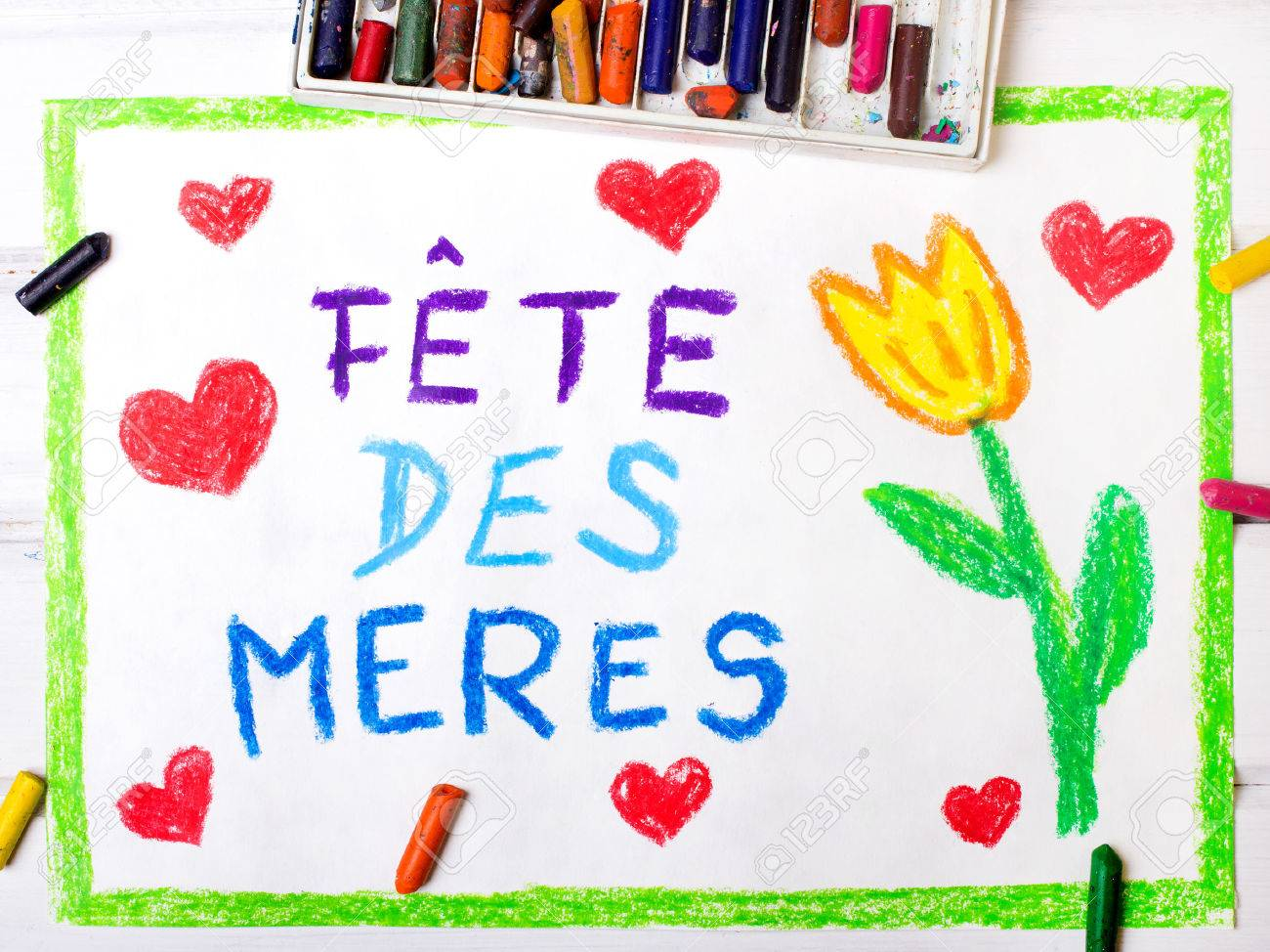"""Colorful drawing - French Mother's Day card with words """"Mother's Day"""" - 54572383"""