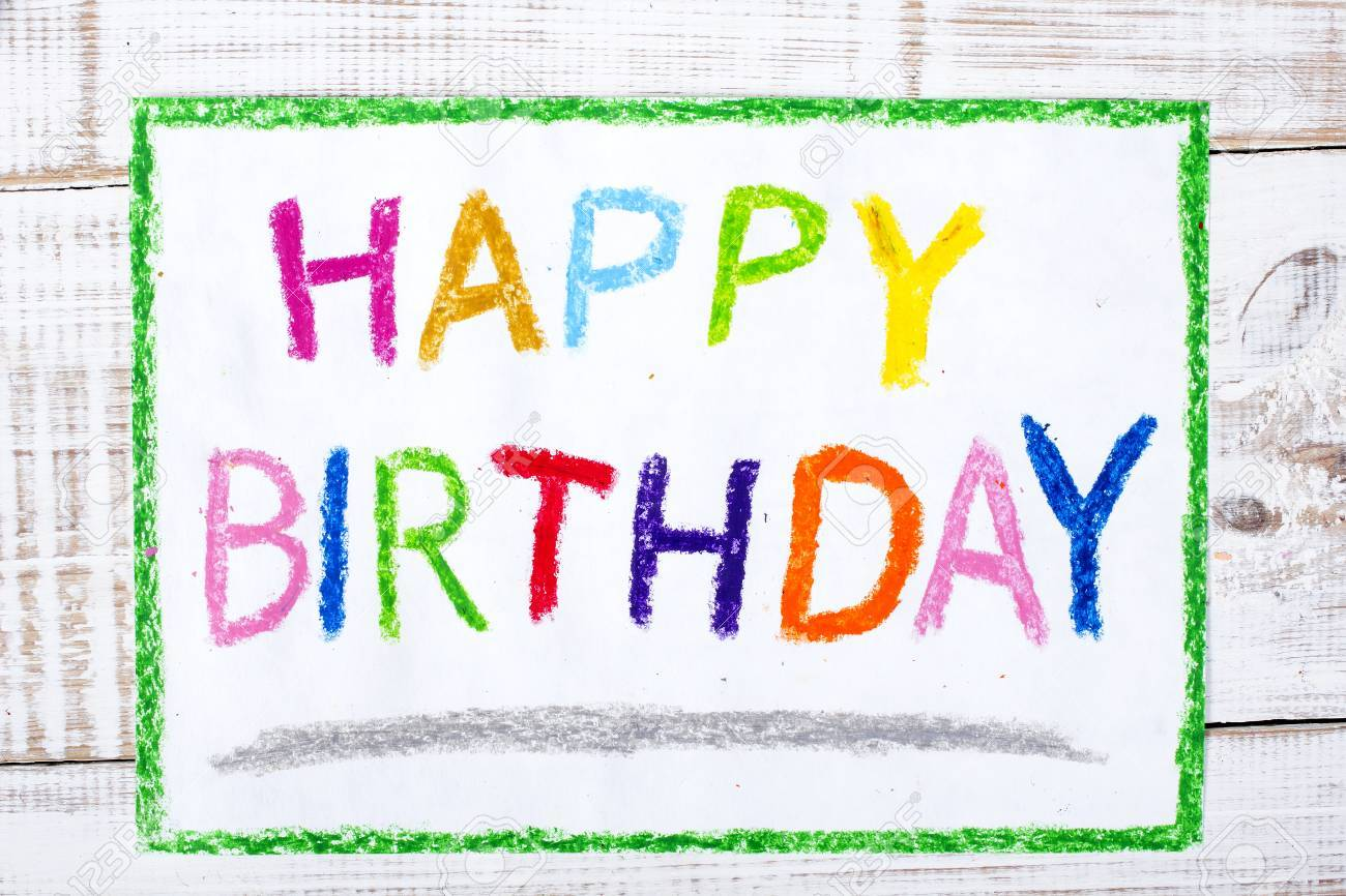 Colorful Drawing Happy Birthday Card Stock Photo
