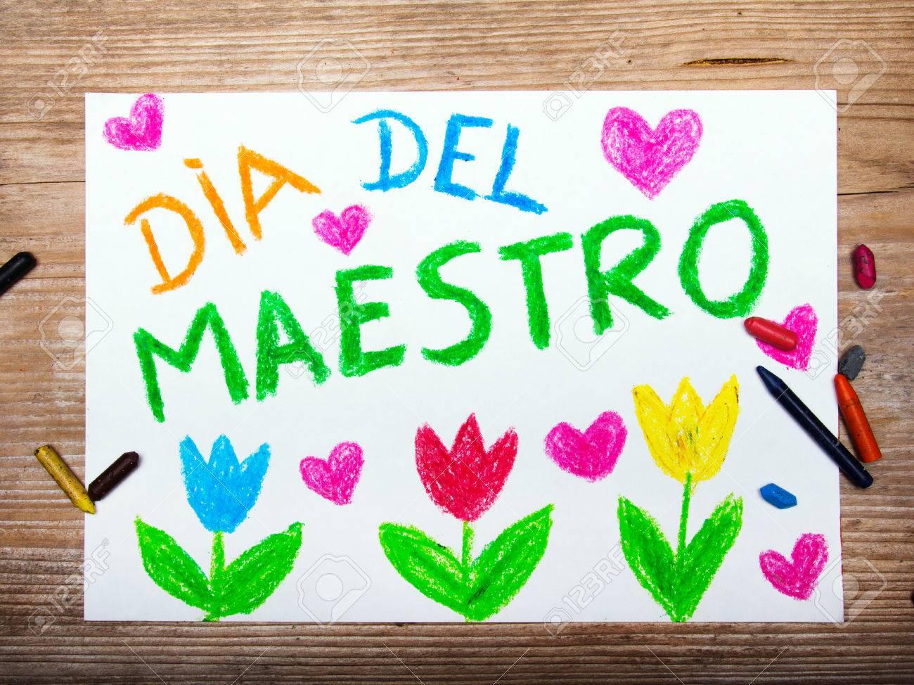 Dibujo Colorido Tarjeta Día Del Maestro Español Con Las Palabras