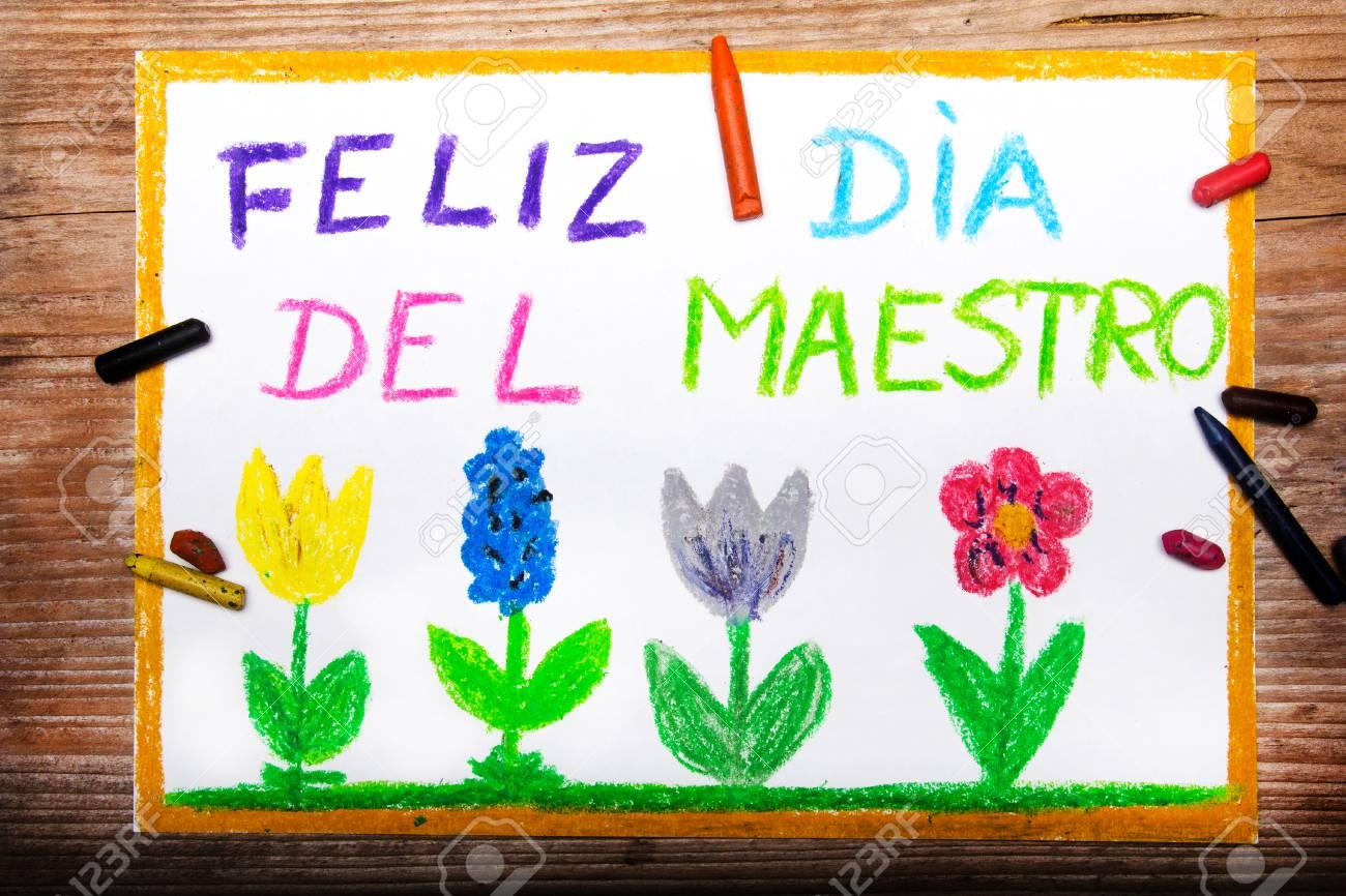 Colorido Dibujo - Tarjeta Del Día Del Maestro De Español Con Las ...