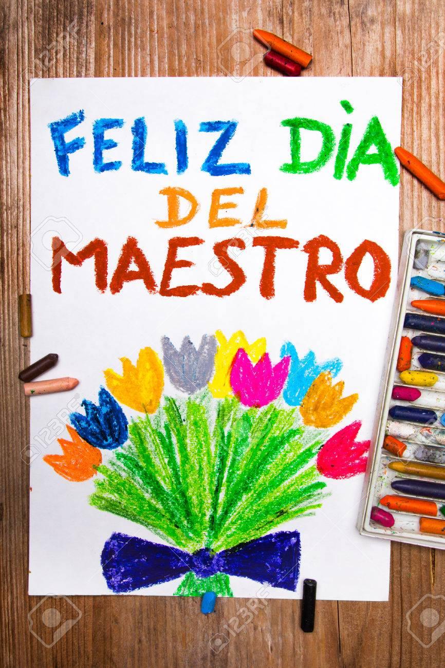 Kleurrijke Tekening Spanish Teachers Day Kaart Met Woorden Día