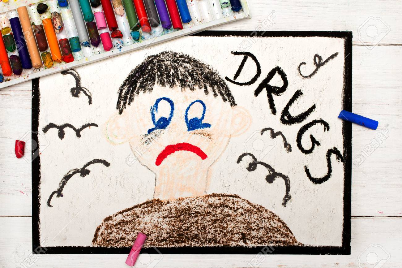 Colorful Drawing Drug Addicted Person Sad And Depressed Man Stock Photo