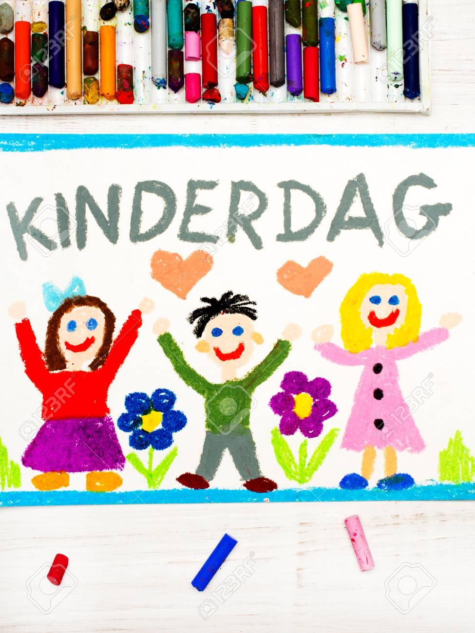 Dibujo Colorido Tarjeta Del Día Del Niño Con Palabras De Holanda