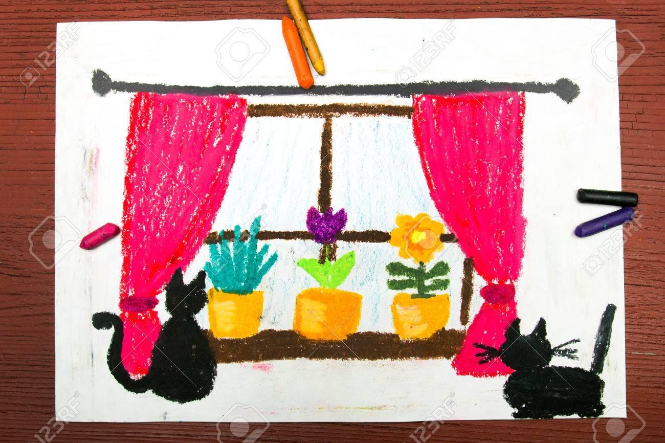 Wunderbar Fenstervorhänge Galerie Von Bunte Zeichnung: Fenster Mit Fenstervorhänge, Schöne Blumen