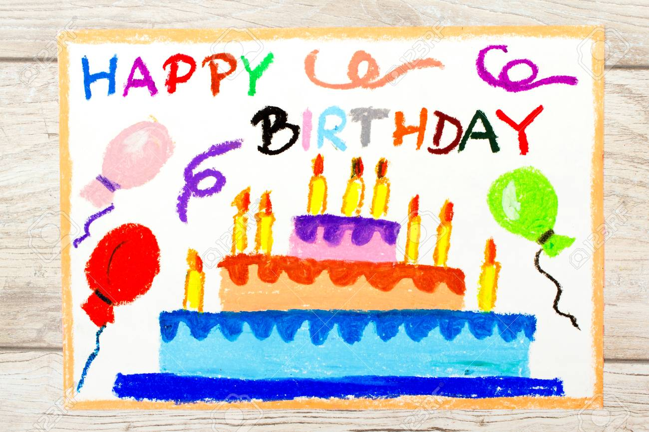 Incredible Photo Of Colorful Drawing Birthday Cake Stock Photo Picture And Funny Birthday Cards Online Eattedamsfinfo