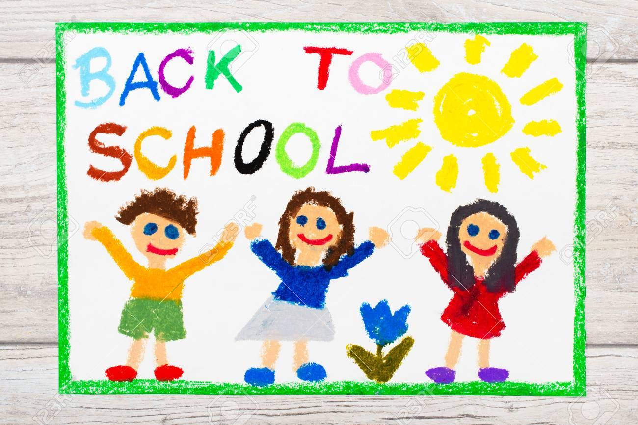 Foto Do Desenho Colorido Palavra De Volta A Escola E A Criancas