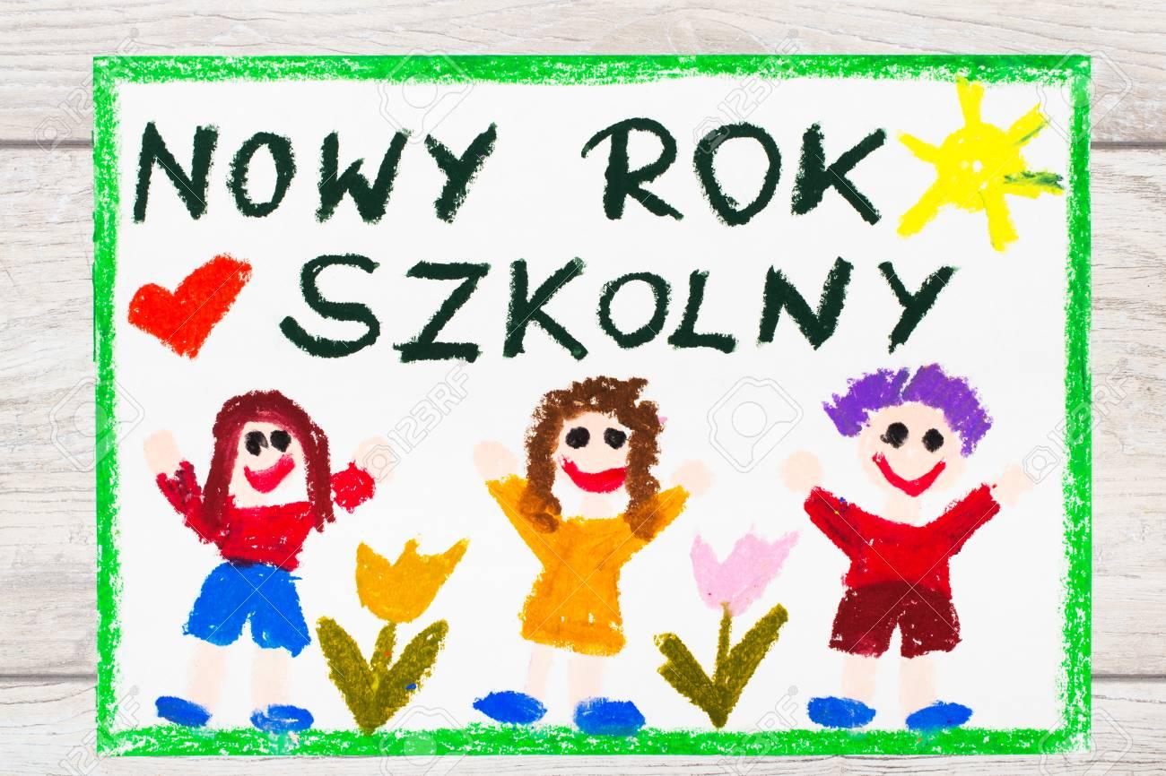 Foto Do Desenho Colorido Palavras Polonesas Novo Ano Escolar E
