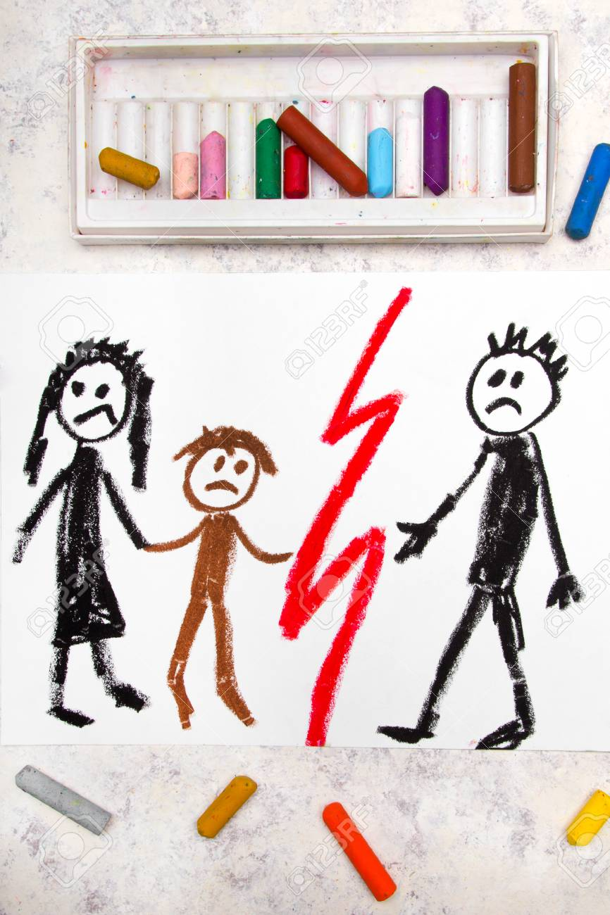 Colorful drawing representation of marriage break up or divorce stock photo 110378360