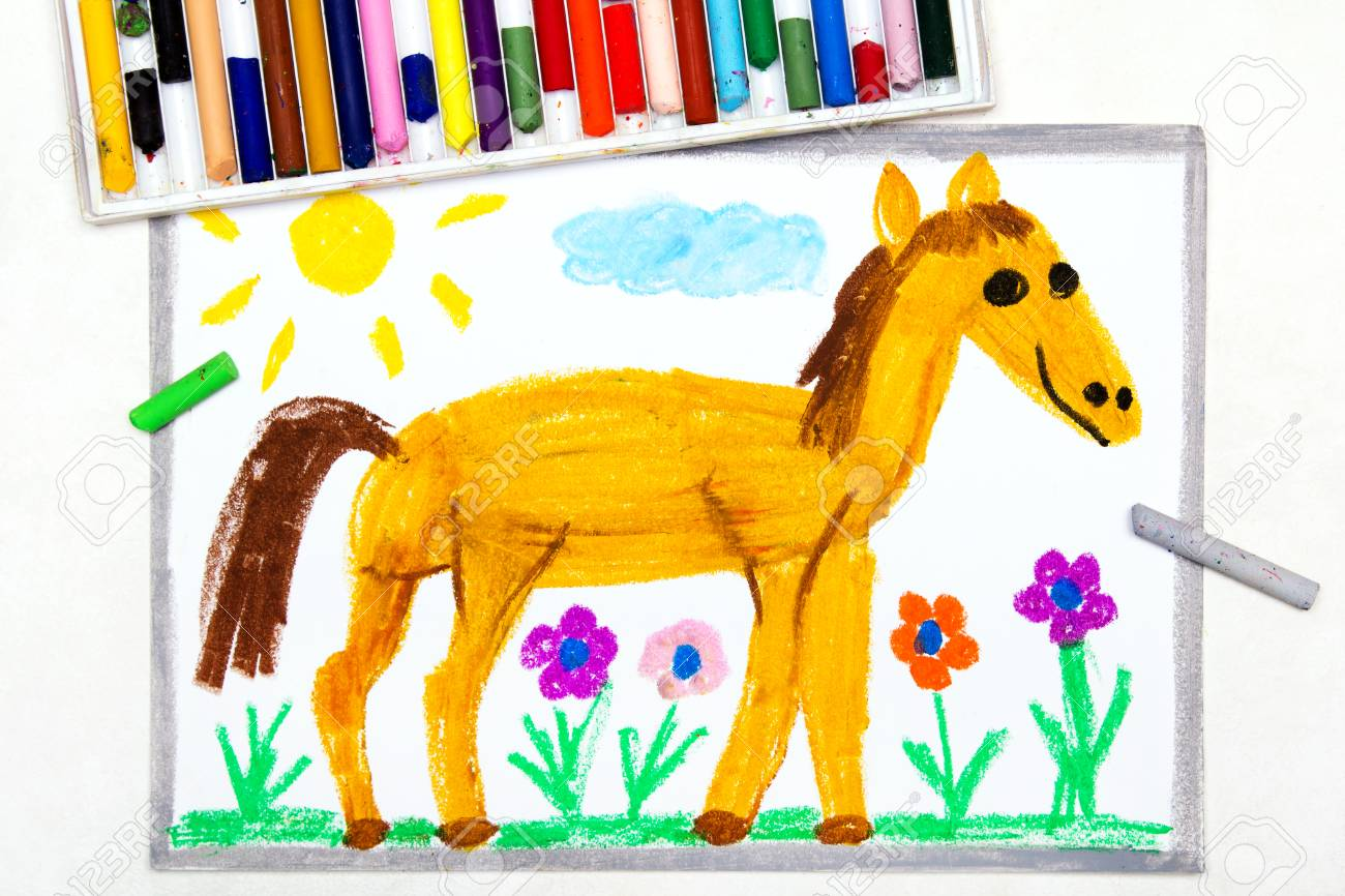 Colorful Drawing Cute Smiling Horse In The Pasture Stock Photo Picture And Royalty Free Image Image 120255674