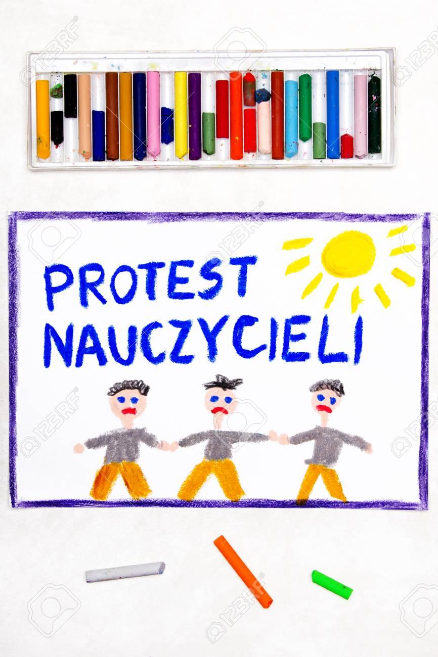 Colorful drawing: Teachers strike in Poland  Polish word TEACHERS