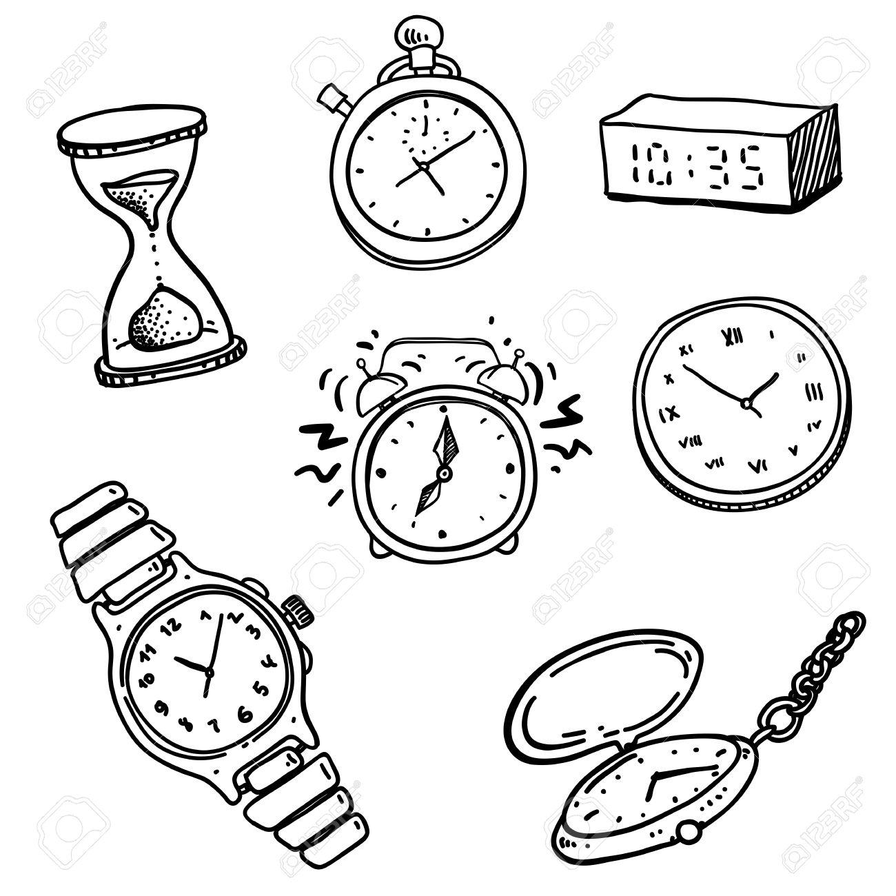 Armbanduhr gezeichnet  Uhr Zeit Lizenzfreie Vektorgrafiken Kaufen: 123RF
