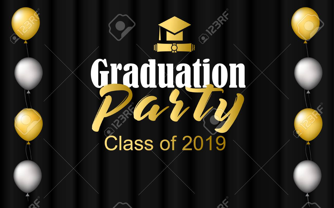 Graduation Vector Party Banner In Black Background. Design Elements..  Royalty Free Cliparts, Vectors, And Stock Illustration. Image 126669012.