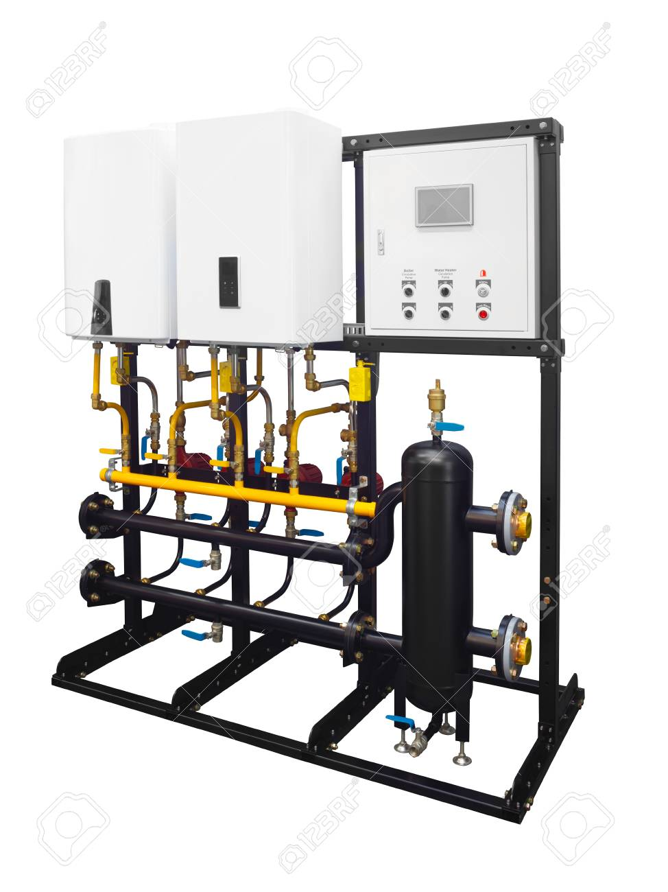 Modern Combined Boiler Room Gas Electric Cascade System For Heating ...