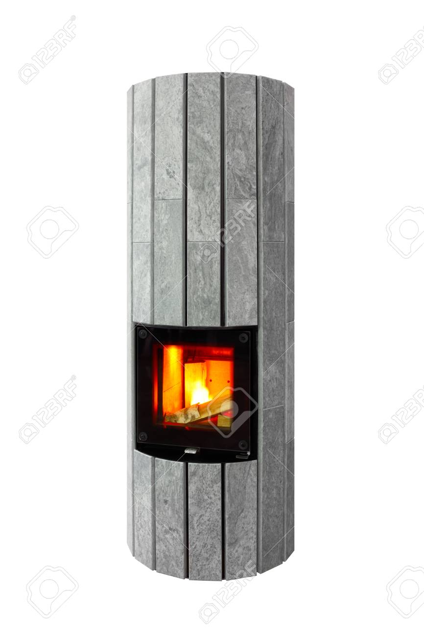 Modern Designer Electric Fireplace Of Gray Marble Stock Photo Picture And Royalty Free Image Image 97052038