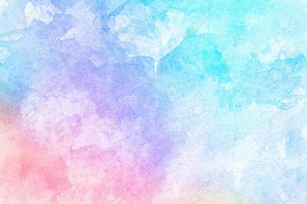 Abstract Pink Blue Red Yellow Green Violet Orange Purple Watercolor