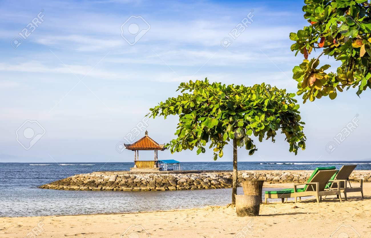 Paradise Sandy Nusa Dua Beach On Bali Island Indonesia Stock Photo