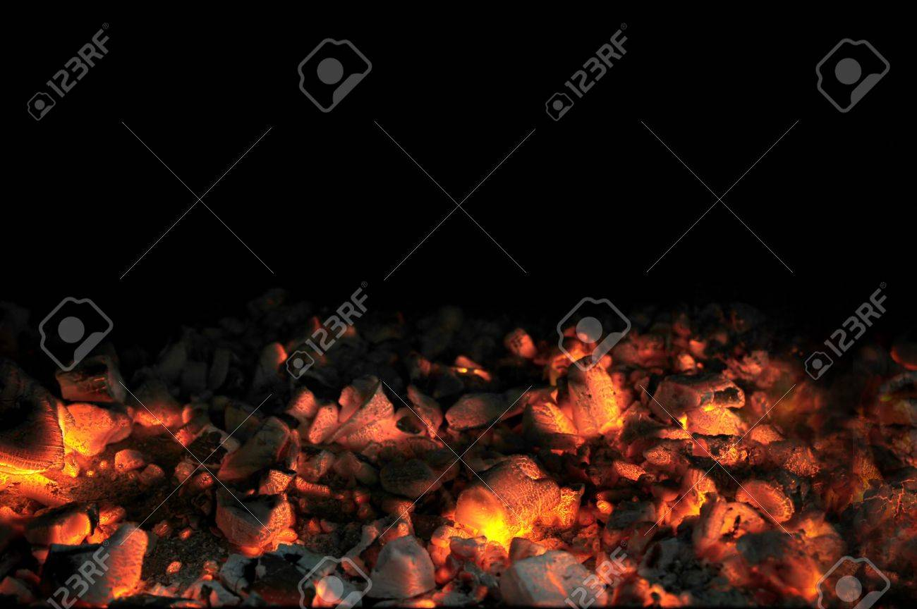 Live Coal With Black Background Stock Photo - 10043716