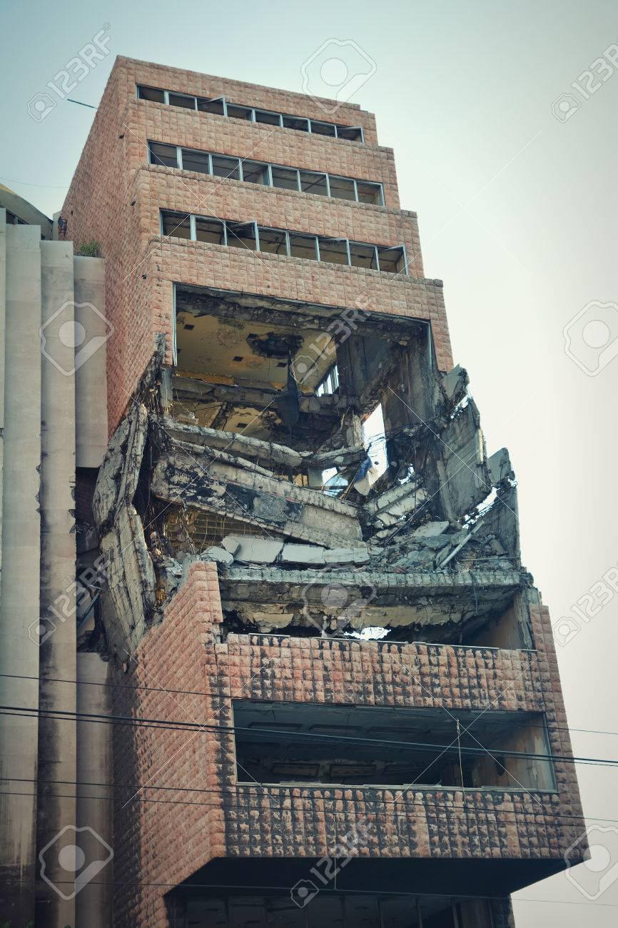 Exterior shot of former Yugoslav Ministry of Defence bombed on