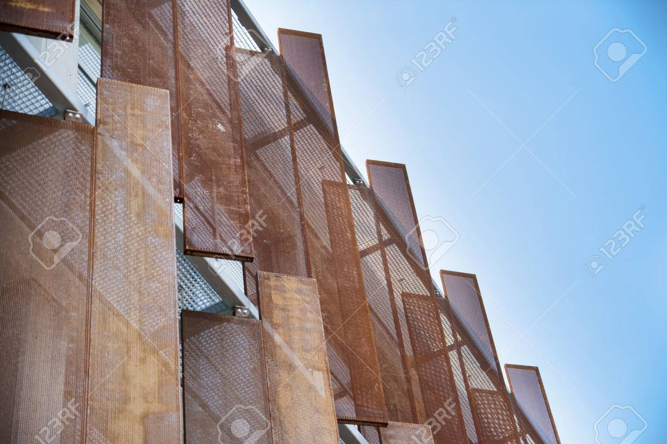Artistic Metal Panels On Building Exterior Stock Photo, Picture And ...